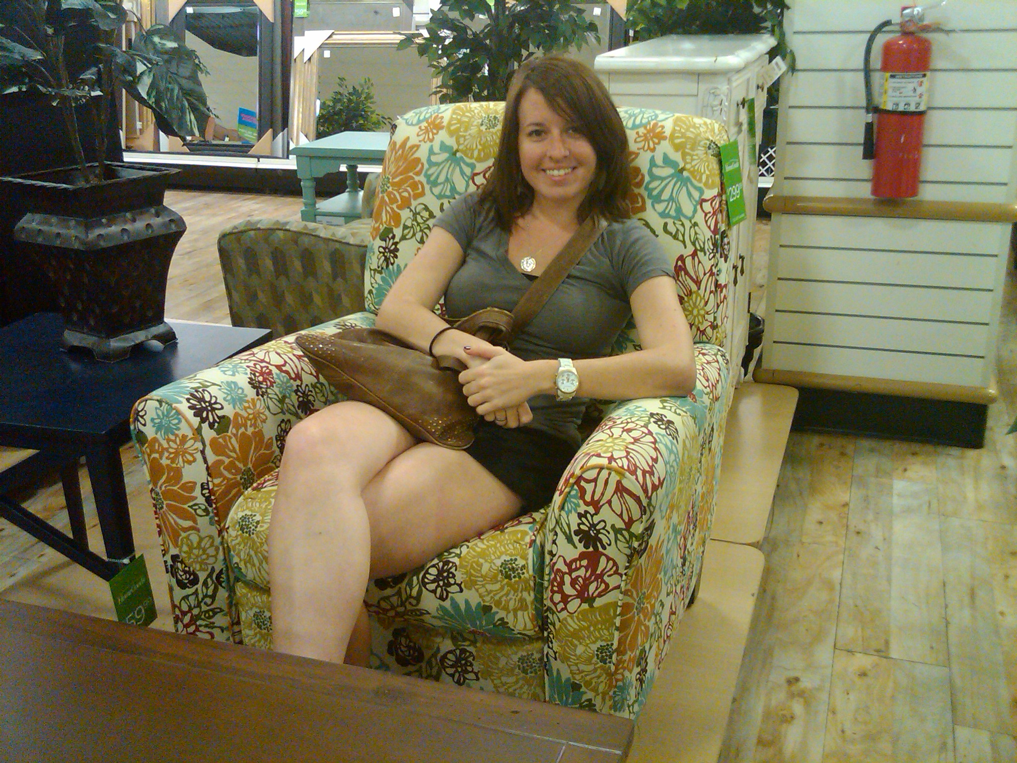 We found this recliner at HomeGoods and loved it  She purchased it and did  not get it into her apartment until I was gone  She placed it by the sticks  in. Me  My Daughter  and our HomeGoods  Shabby Chic Quest   Relish