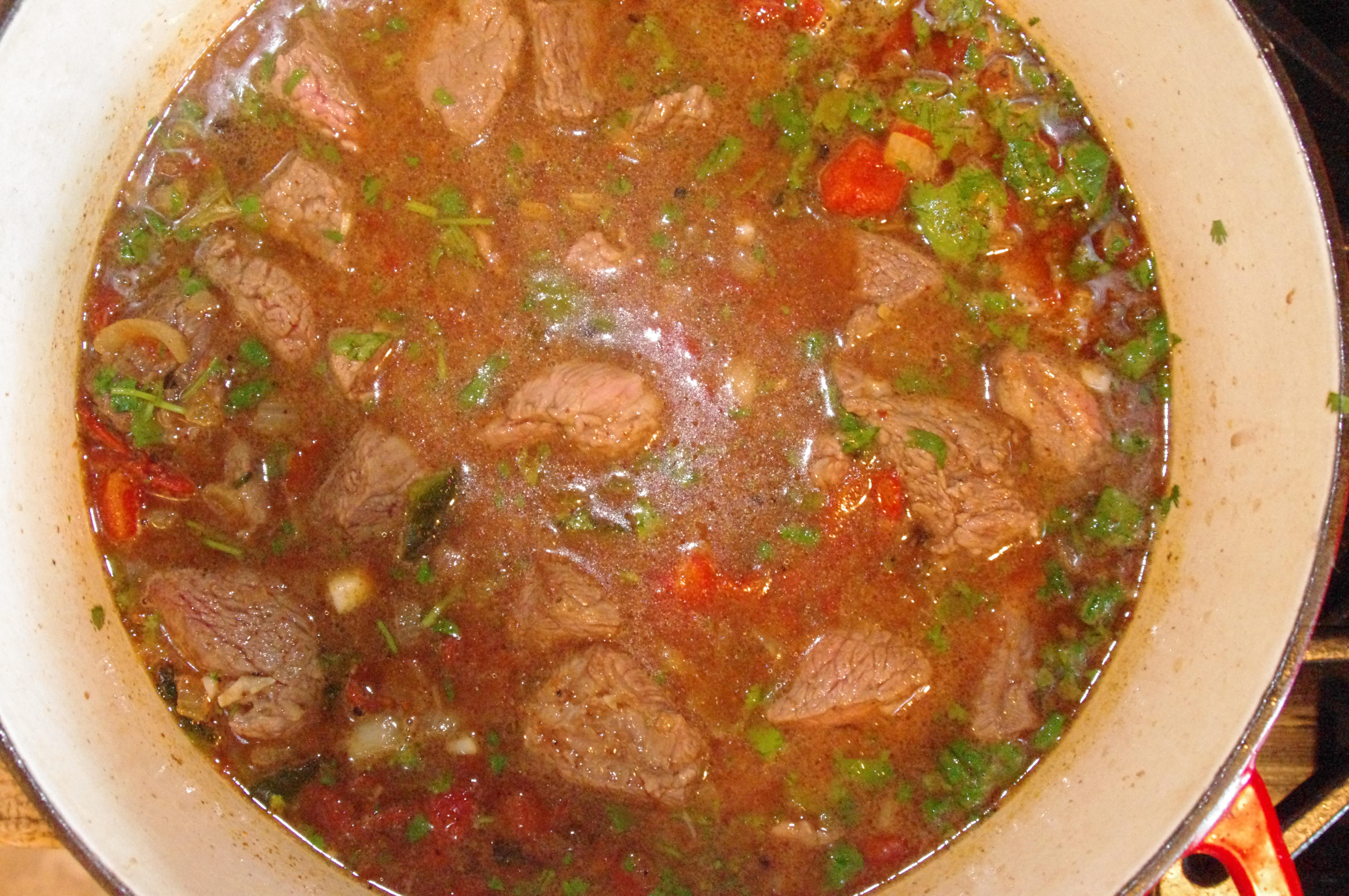 Bring to a boil, turn down heat , cover and simmer for 1 1/2 hours.