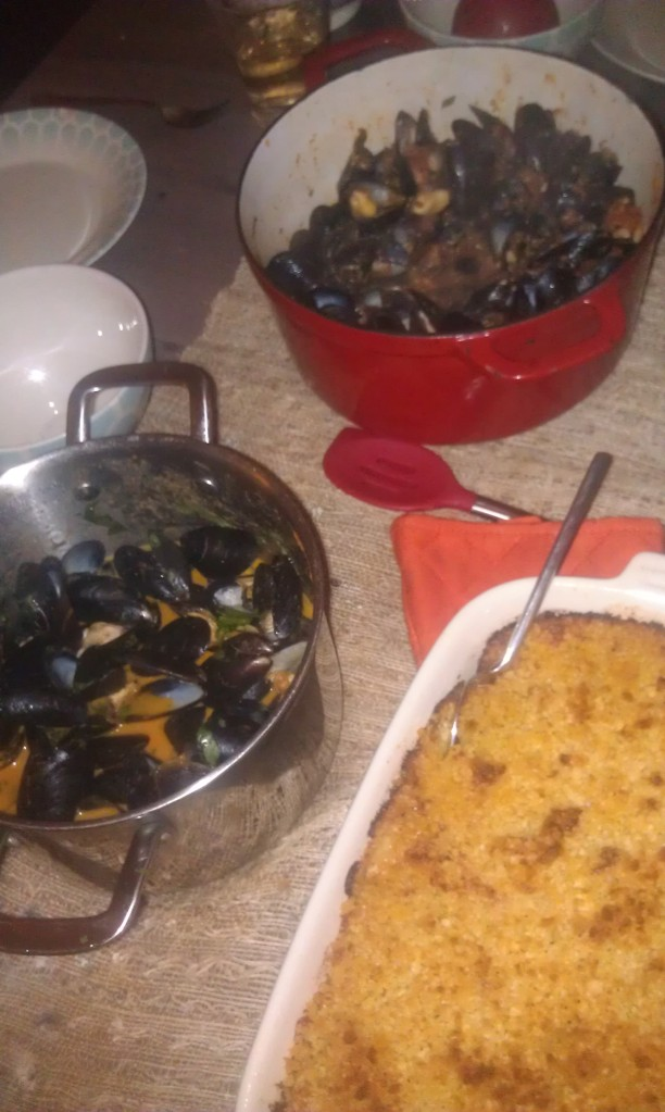 Thai Coconut Curry Mussels, Spicy Tomato Garlic Mussels, Lobster Mac n Cheese and for dessert Gooey Butter Cake.