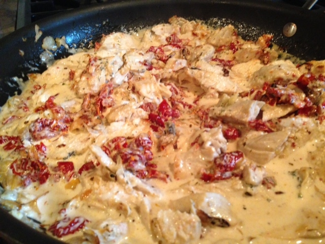 Add cream, salt and peppers; cook additional 2 minutes. Toss pasta ...
