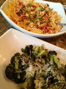 Sundried tomato pasta and broc