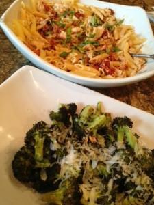 Sundried tomato pasta and broc